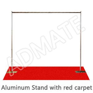 Aluminum stand with red carpet